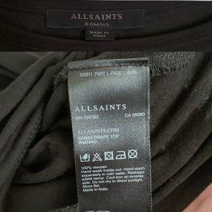 All Saints Tops - All Saints Black Simmo Slash Shoulder Drape Tee